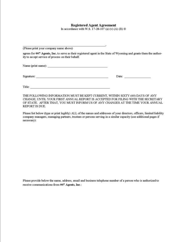 Registered Agent Agreement Form   Agents IncCom